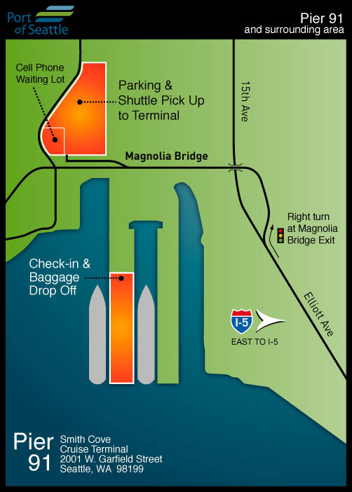 Map of Seattle's Pier 91: The Smith Cove Cruise Terminal